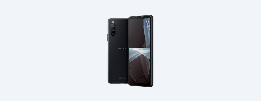 Back and angled front shots of Xperia 10 III in black