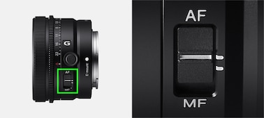 Product image showing position of Focus Mode switch on lens