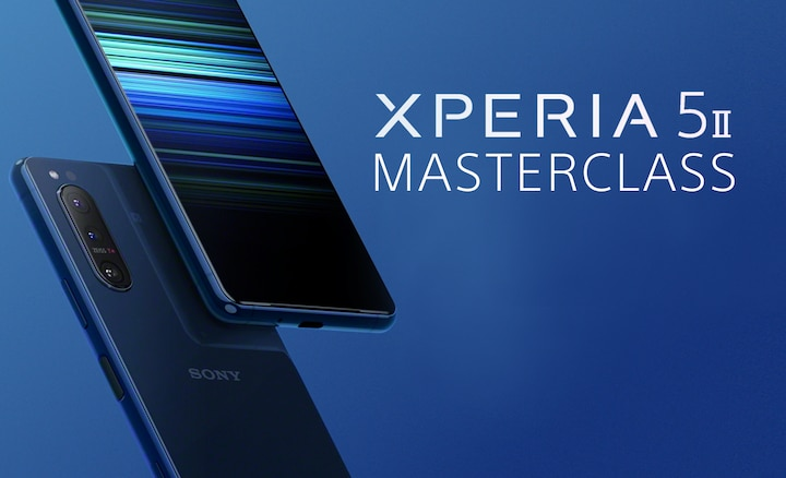 Image showing Xperia 5 II, front and back, and Masterclass logo