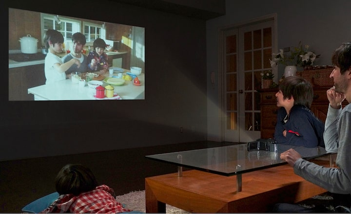 Show movies instantly with the built-in projector
