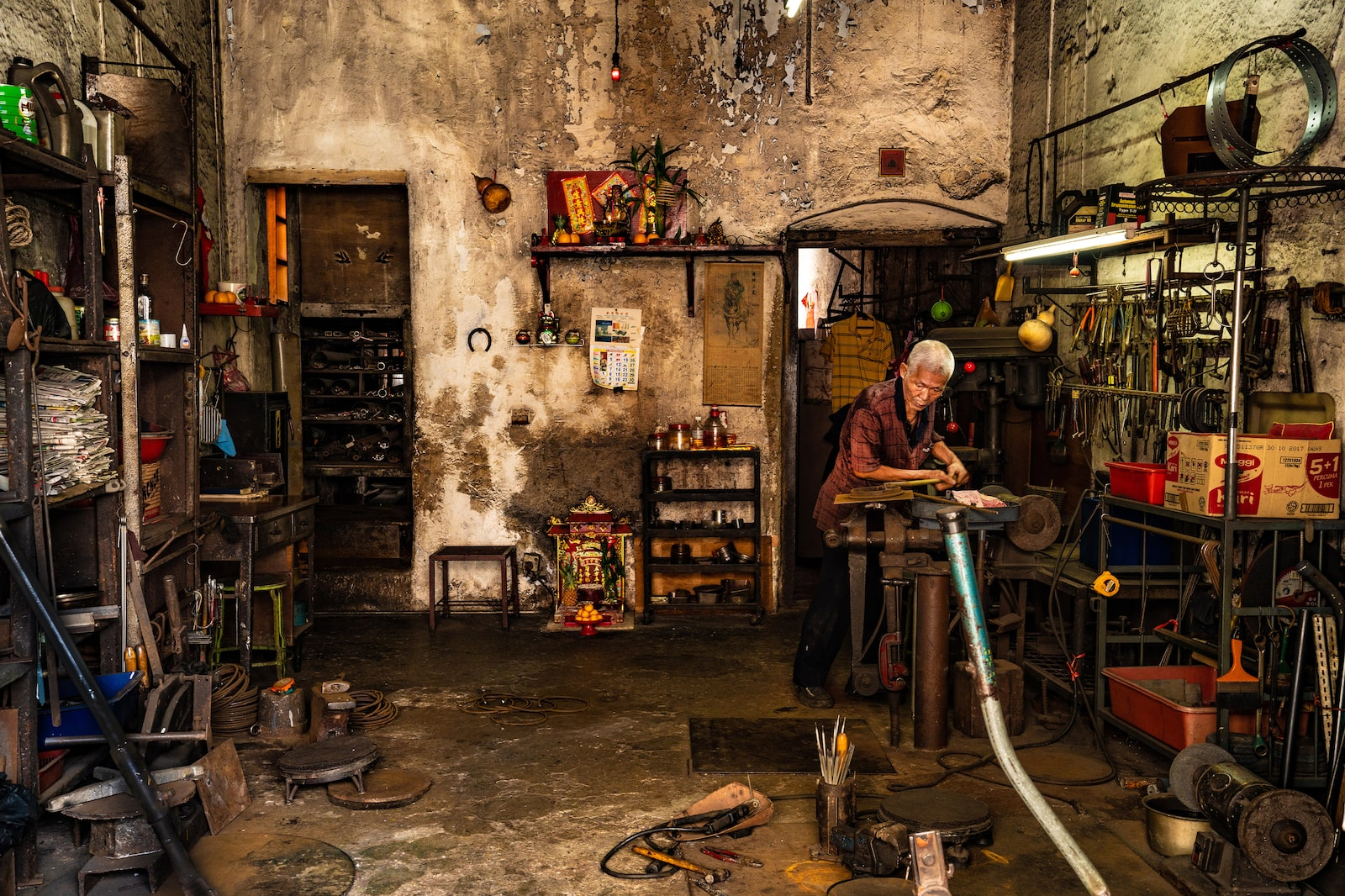 Inside an old shophouse of a cobbler