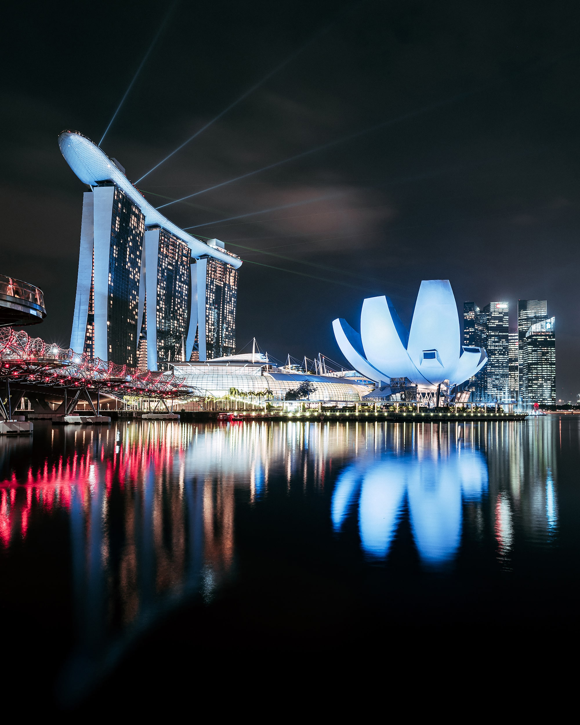 Riverside view of Marina Bay Sands area at night