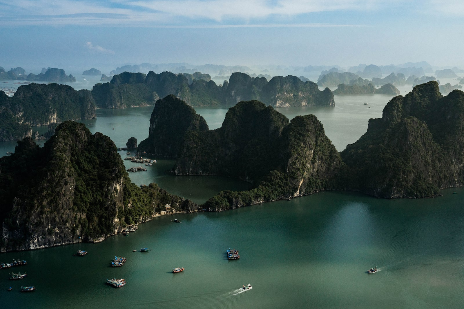 Aerial view of Ha Long Bay islands