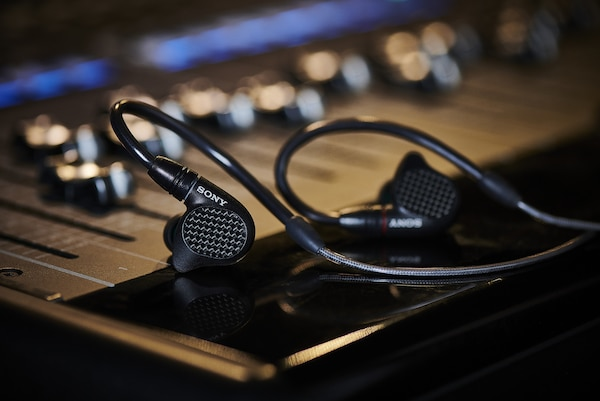 IER-M7 In-ear monitor earphones on a mixing desk
