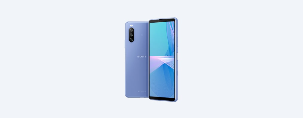 Back and angled front shots of Xperia 10 III in blue