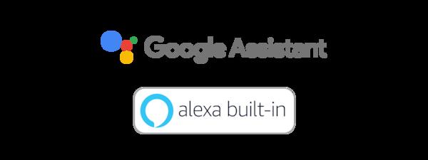 Google Assistant and Amazon Alexa logos.