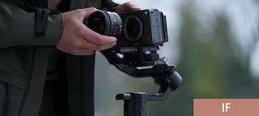 Product image illustrating shooting with lens mounted on a gimbal