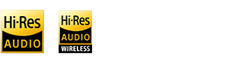 HI-Res Audio, Hi-Res Audio WIRELESS, DSEE Ultimate and 3.5mm jack logos