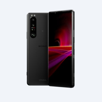 Front and rear view of Xperia 1 III in frosted black