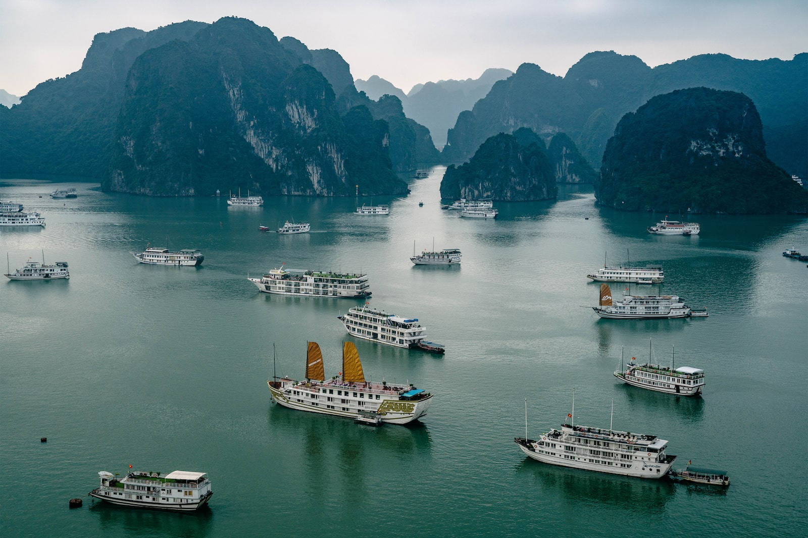 Aerial view of Ha Long Bay
