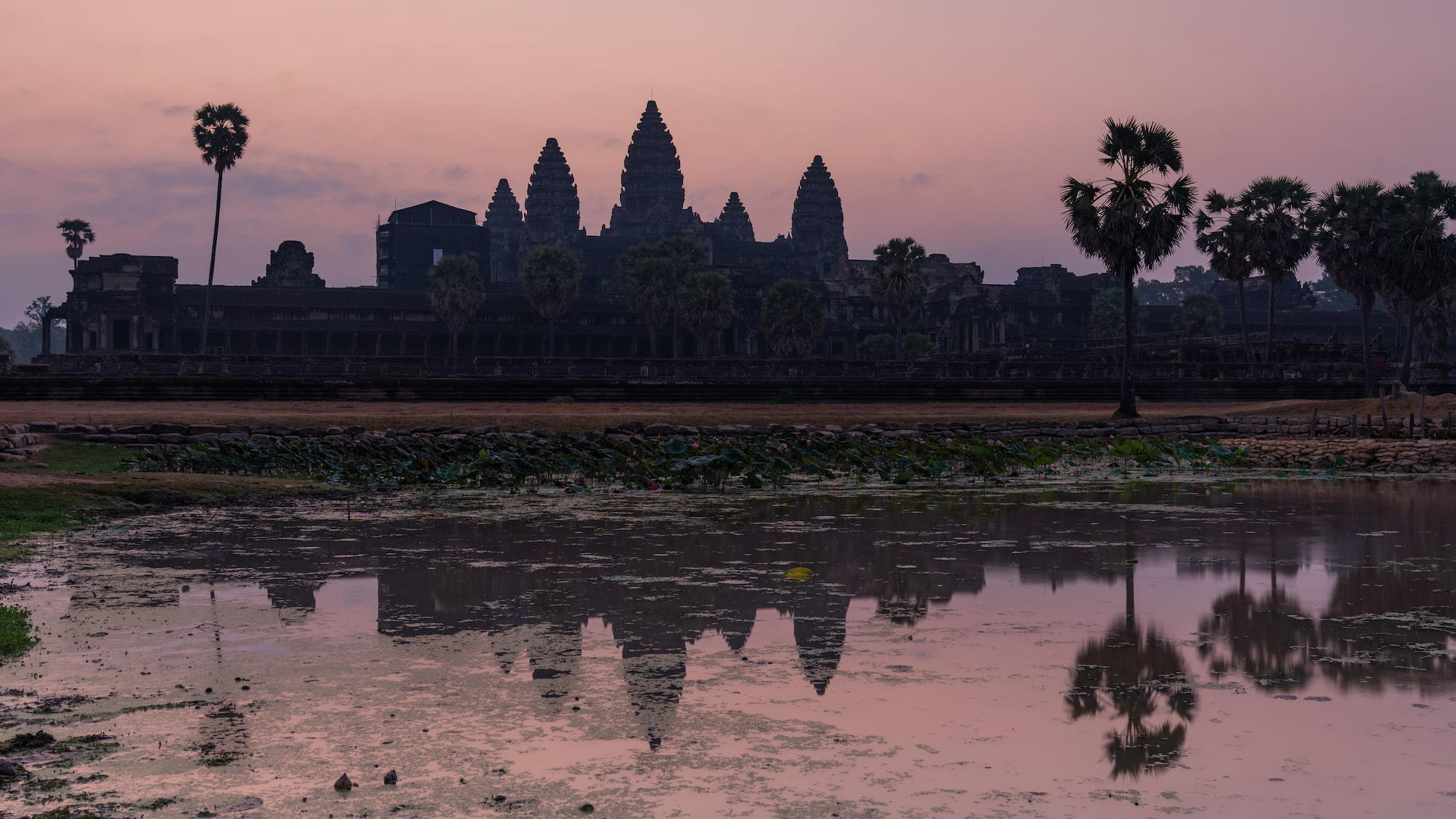 Temples and their waters reflection at sunrise in Angkor Wat