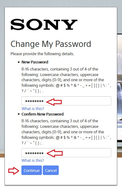 Enter new password to continue