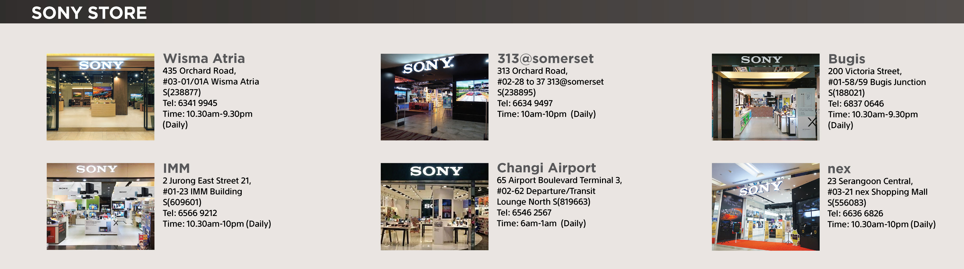 Sony Store locations, details and operating hours.