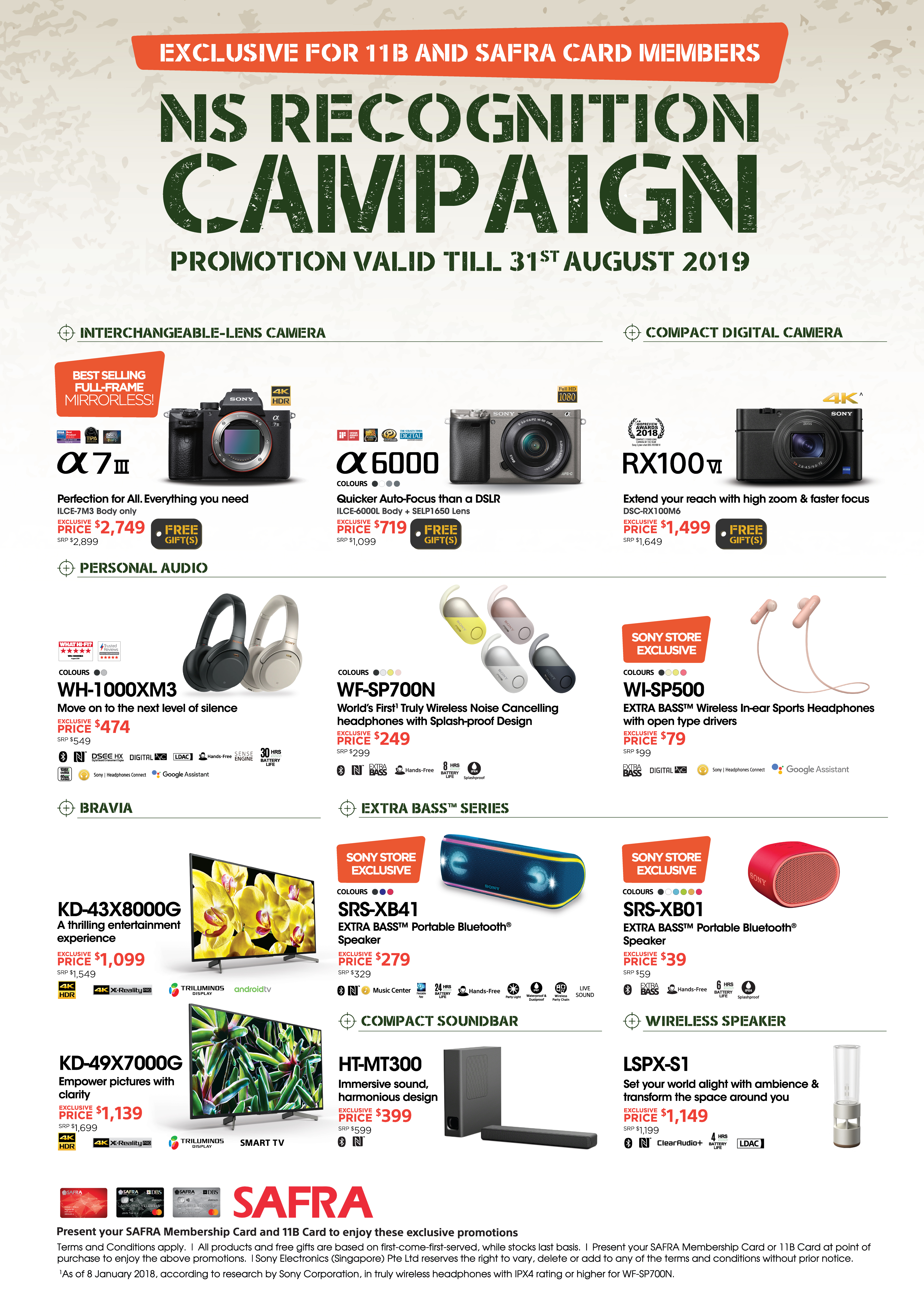 Exclusive for 11B and SAFRA card members. NS Recognition Campaign. Promotion valid till 31 August 2019.
